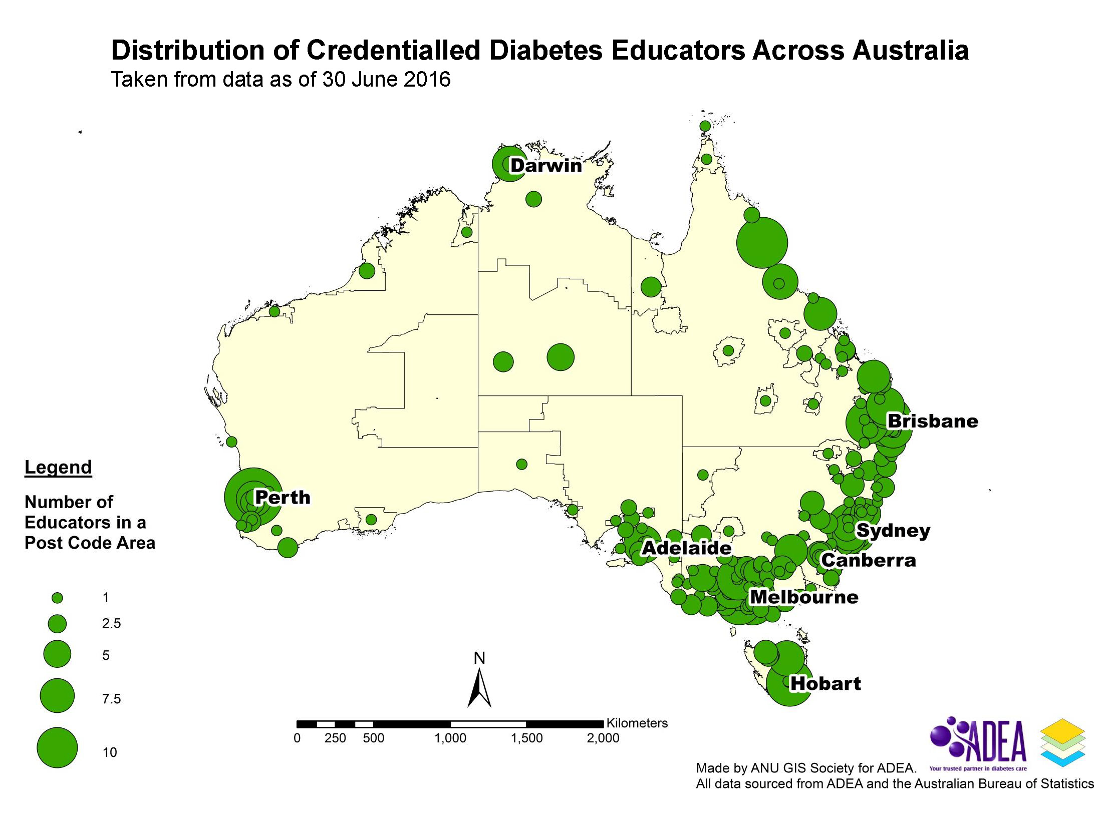 Distribution of Credentialled Diabetes Educators Across Australia